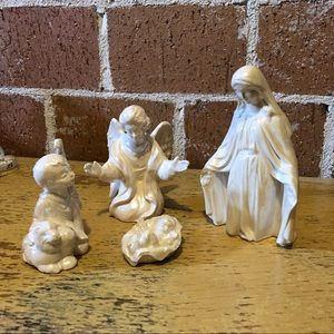 Other - Marble glazed ceramic nativity set